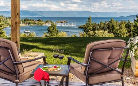 Private deck with view of Flathead Lake
